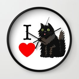 I love Cats _ black Wall Clock