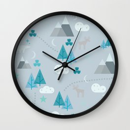 Winter Forest Mountains And Trees Wall Clock