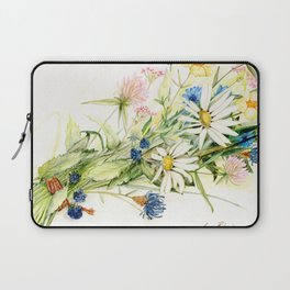 Bouquet of Wildflowers Original Colored Pencil Drawing Laptop Sleeve
