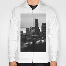 Seattle Skyline Sunset City - Black and White Hoody