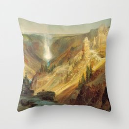 The Grand Canyon Of The Yellowstone 1872 By Thomas Moran | Daylight Watercolor Scenery Reproduction Throw Pillow