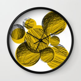 Squiggle Circles [yellow] Wall Clock