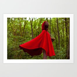 Not Your Average Fairy Tale: The Girl in the Red Cape Art Print