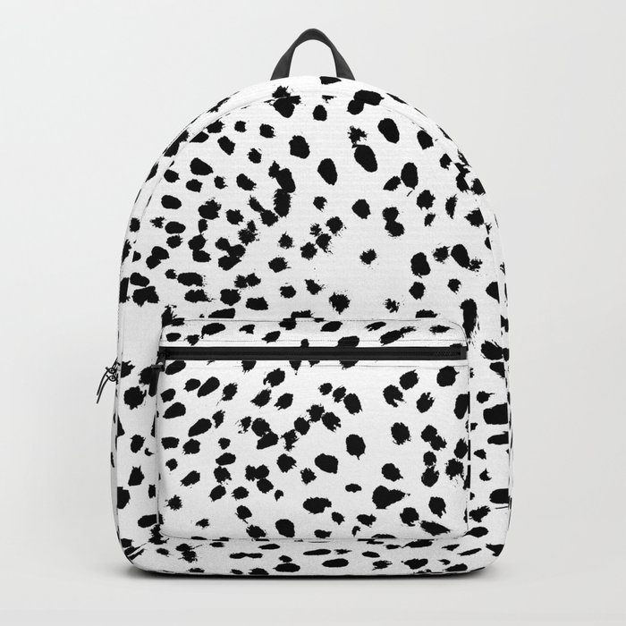 Nadia - Black and White, Animal Print, Dalmatian Spot, Spots, Dots, BW Rucksack