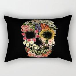 Floral Skull Vintage Black Rectangular Pillow