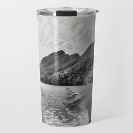 Morning Cruise at Doubtful Sound in black and white Travel Mug