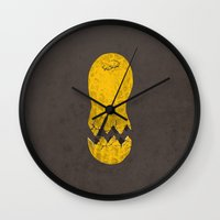 cracked Wall Clocks featuring cracked peanut  by jerbing