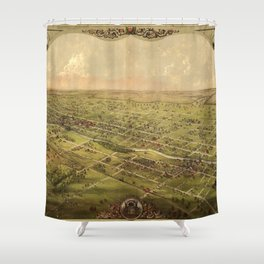 Vintage Pictorial Map of Lansing Michigan (1866) Shower Curtain