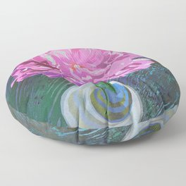 Single Pink Peony in a Ball Canning Jar Floor Pillow