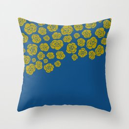 Yellow Cascading Roses on Classic Blue Throw Pillow