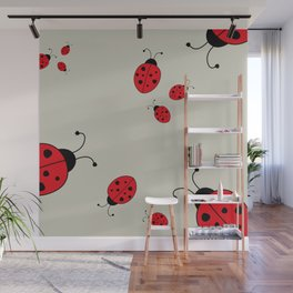Ladybugs-Beige+Red Wall Mural