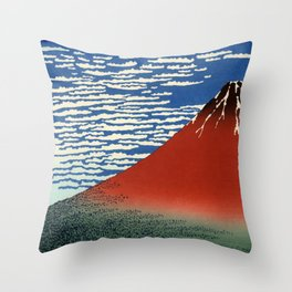 """Hokusai (1760–1849) """"Fuji, Mountains in clear Weather (South Wind, Clear Sky)(Red Fuji)"""" Throw Pillow"""