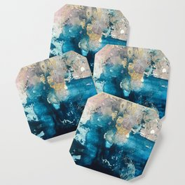 Timeless: A gorgeous, abstract mixed media piece in blue, pink, and gold by Alyssa Hamilton Art Coaster