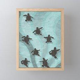 Loggerhead sea turtle hatchlings Framed Mini Art Print