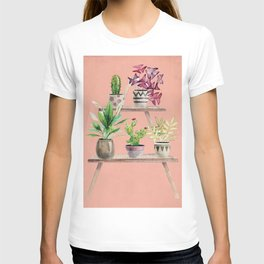 Watercolor Plant Ledge on Pink T-shirt