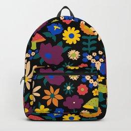 60's Country Mushroom Floral in Black Backpack