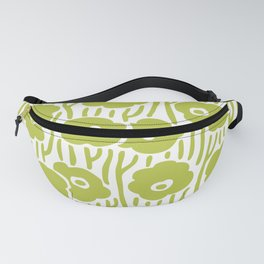 Mid Century Modern Wild Flowers Chartreuse Fanny Pack