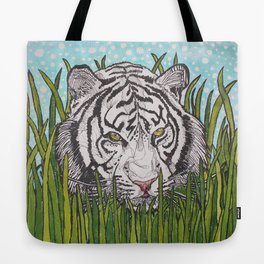 White tiger in wild grass Tote Bag