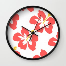 Flowers illustrated (white background) Wall Clock
