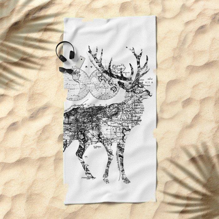 Deer Wanderlust Black and White Beach Towel