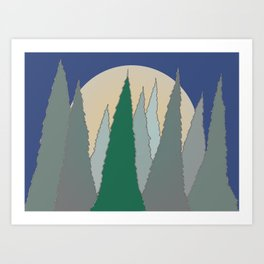 Christmas in the Woods at Night Art Print