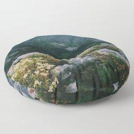 Mountain flowers at sunrise Floor Pillow