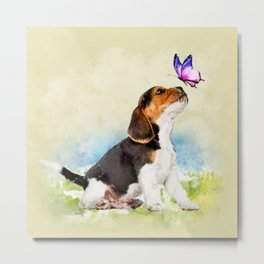 Beagle puppy with butterfly Metal Print