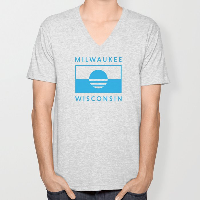 Milwaukee Wisconsin - Cyan - People's Flag of Milwaukee Unisex V-Neck