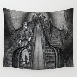 Untitled - charcoal drawing - pretty girl, handsome man, flirting, romance Wall Tapestry