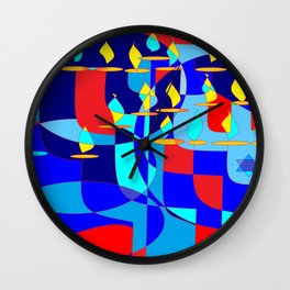 Community Hanukkah Event with Red Outline, Menorahs Wall Clock