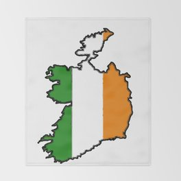 Ireland Map with Irish Flag Throw Blanket