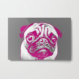 Sweet pug in pink and gray. Pop art style portrait. Metal Print