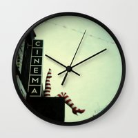cinema Wall Clocks featuring Cinema by Cassia Beck