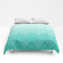 Fading Teal Chevron Comforters