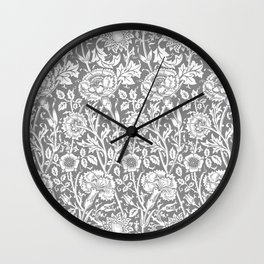 "William Morris Floral Pattern | ""Pink and Rose"" in Grey and White Wall Clock"