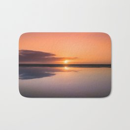 Mindfulness in the Sunrise Reflection at Mediterranean Sea in Valencia, Spain Bath Mat