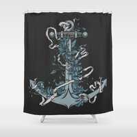 anchor Shower Curtains featuring Anchor by BEADLER Design and Illustration