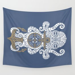 Octopus anchor and compass in tribal style Wall Tapestry