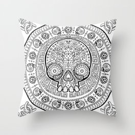 Skull mexican art from the Path to Mictlan Throw Pillow