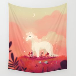 White Horse on the Pink Prairie Wall Tapestry