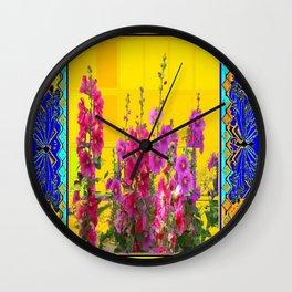 Blue Butterflies, Hollyhocks & Golden Garden Design Wall Clock