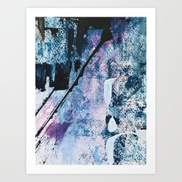 Breathe [4]: colorful abstract in black, blue, purple, gold and white Art Print