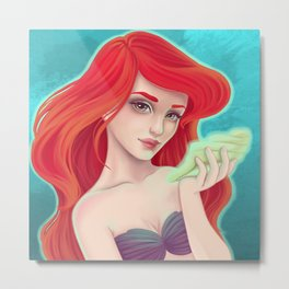 cute girl with shell. the little mermaid Metal Print