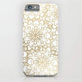 Elegant Hand Drawn Faux Gold White Floral Illustration iPhone Case