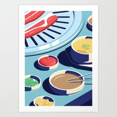 A night out in Seoul - Part 1 - Korean BBQ Art Print