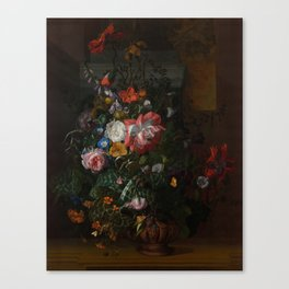 Rachel Ruysch - Roses, Convolvulus, Poppies and other flowers in an Urn on a Stone Ledge (1680) Canvas Print