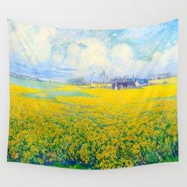 Václav Radimský (1867-1946) Field of Mustard Landscape Impressionist Oil Painting Wall Tapestry