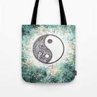 yin yang Tote Bags featuring Yin & Yang by Hope