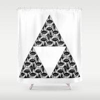 illuminati Shower Curtains featuring Triangle Illuminati by GRLLO