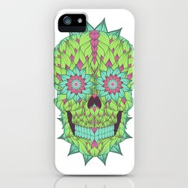 Skull with a floral style iPhone Case